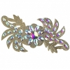Motif Glitter Leaves with stones 28x13cmgold Crystal Aurora Borealis
